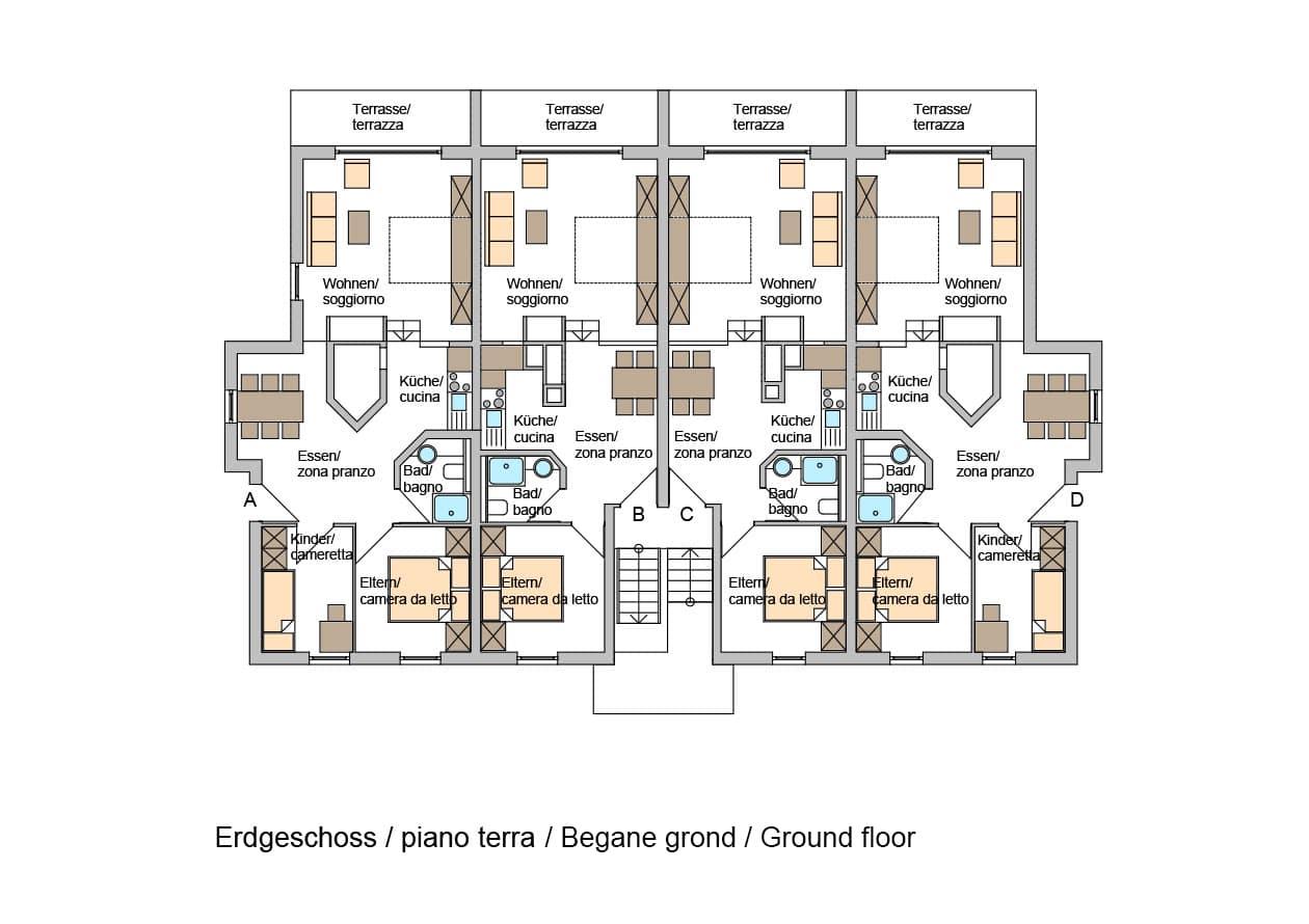 Ferienwohnungen – Grundriss Erdgeschoss