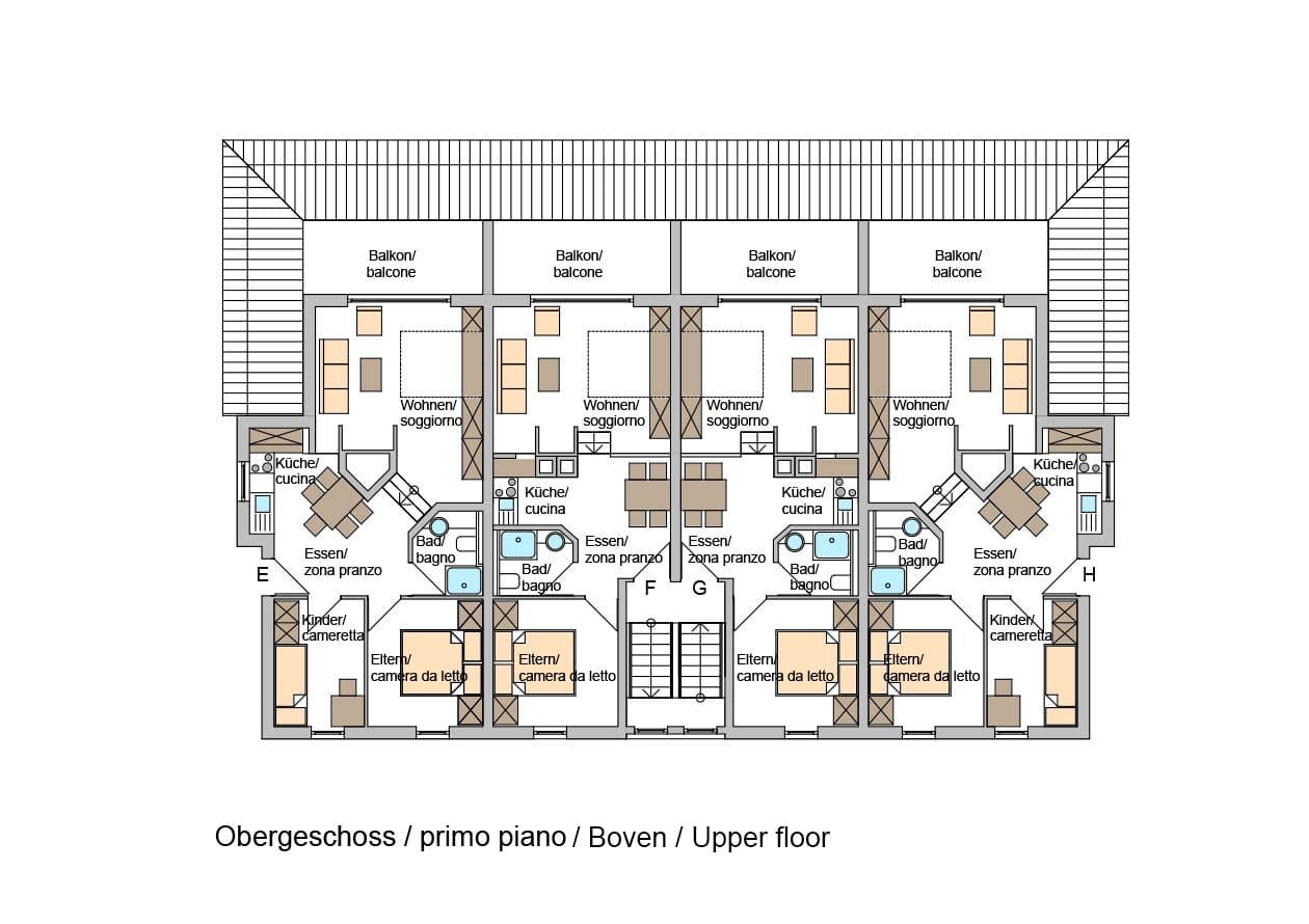 Ferienwohnungen – Grundriss Obergeschoss